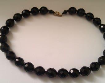 2 deco black glass bead necklaces
