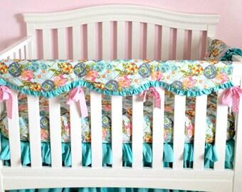 Bumperless Baby Bedding Custom Baby Girl Bedding with Pink