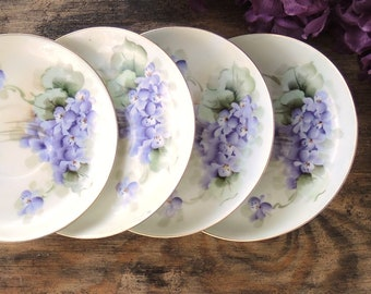 Hand Painted Germany Violets Saucers Set of 4, Tea Party, Wedding, Cottage Chic, Vintage Bridesmaid Gift Inspired Replacement China