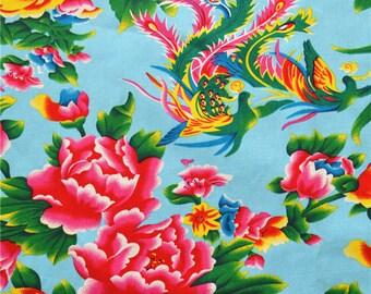 Tissu Chininois tissus chinois vintage pivoine  ameublement bleu au demi mètre 0.5m