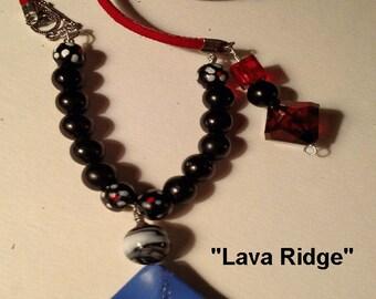 Lava Ridge  Red leather Necklace with Denim Blue Pendant