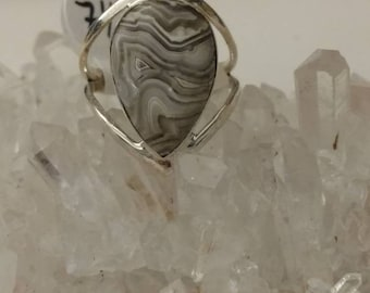 Crazy Lace Agate Ring Size 7 1/2