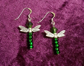 Dragonfly earrings with sterling silver 925 hooks in deep emerald green with Tibetan silver wings