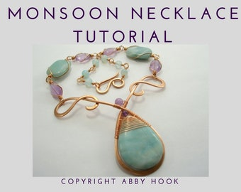Monsoon Necklace, Wire Jewelry Tutorial, PDF File instant download with bonus chain and clasp tutorials