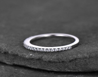 Sterling silver ring/Cubic Zirconia wedding band/CZ wedding ring/stack ring/Thin Matching band/Half eternity ring/White gold plated