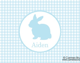Personalized Easter Placemat,Easter, Chevron, Personalized Placemat, kids placemat, kitchen placemat, monogram, Family placemat, Blue, bunny