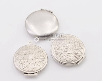 10 316L Stainless Steel Flower Lockets 27mm Round Photo Frame Base Setting Wholesale Pendant Locket