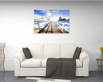 Landscape view of the sea, beach, wall painting, digital art painting