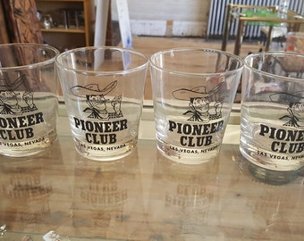 Set of 4 Vintage Las Vegas Frontier Club Rocks Glasses