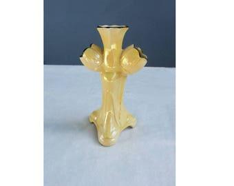 Vintage Czechoslovakia Yellow Porcelain Lusterware Bud Vase | three fingers