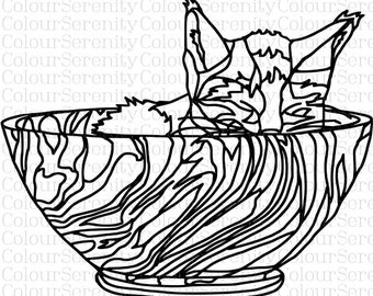 Adult Coloring Page - Cat - Printable Instant Download #20