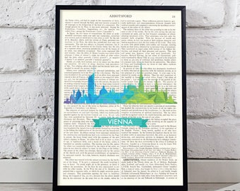 Vienna Skyline, Vintage Dictionary, Book Quote Art, Vintage Art Print, Book Art Print, Book Lover Gift, Mixed Media Art, Motivational Poster