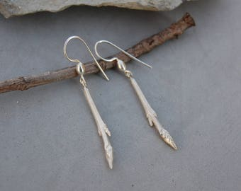 """Twig Earrings Sterling Silver Dangle 1 1/2"""" Cast from Real Botanical"""