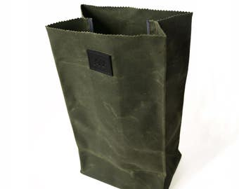 LUNCH BAG in Olive / Army Green | Waxed Canvas Lunch Bag | Paper Bag Lunch Bag