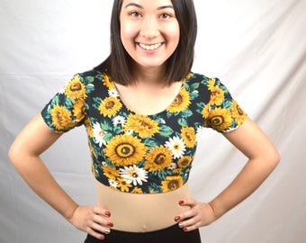 Super 80s Floral Sunflower Spandex Cropped Top