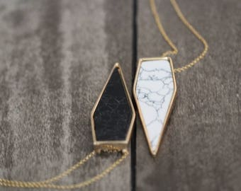 Marble Statement Necklace ,  Geometric Pendant in White or Black Howlite , Modern Bohemian Fashion , Gold or Sterling Silver - Summit