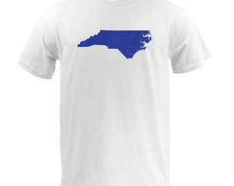 Distressed North Carolina State Shape - White