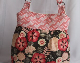 Large Brown and Coral Diaper Bag, Ladies Purse,