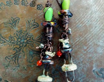 Earrings Ceramic Unique Scorched Earth Cord Forged Copper African Mosaic Glass and Gemstones Eclectic Tribal