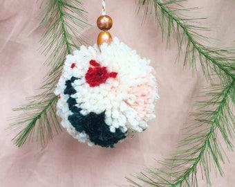 Cream & Red Pom Pom Christmas Ornament