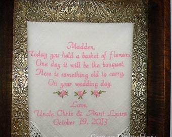 A special wedding gift for your Flower Girl, Wedding Gift, Embroidered Wedding Handkerchief, Flower Girl Handkerchief, by Canyon Embroidery