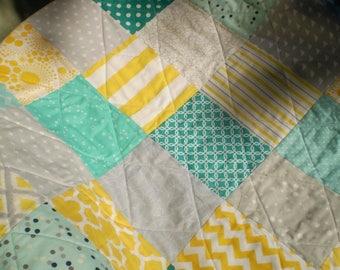 Handmade Baby quilt, Baby boy bedding, baby girl quilt, teal,aqua,grey, yellow nursery, Crib quilt,chevron quilt,  toddler, Sun,Sea and Mist