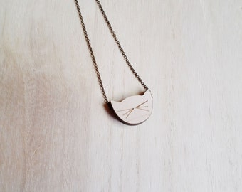Cat necklace wood Cute cat and whiskers