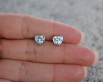 Heart stud earrings. 7MM cz heart stud earrings. Sterling silver heart stud earrings. Gold plated heart stud earrings. Silver jewelry