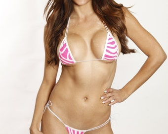 Pink/White Animal Print Scrunch Butt Bikini 2pc Brazilian Cheeky Back Bottom Adjustable Triangle Top Swimwear Swimsuit White Cord/String