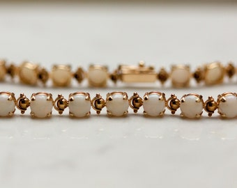 Vintage 14K Solid Yellow Gold and Natural Opal 7.5 Inch Bracelet - 6 carats of natural opals