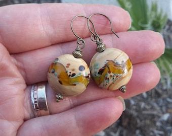 Swirly Lampwork Earrings | Tan & Amber Puffy Glass Lentils