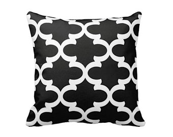7 Sizes Available: Black Throw Pillow Cover Black Cushion Covers Decorative Pillows Black Pillow Black Moroccan Pillow Moroccan Decor