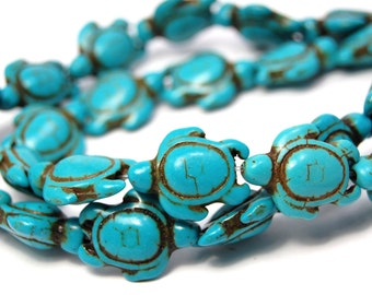 """Two 15.5"""" strands Turquoise Howlite Turtle Beads"""