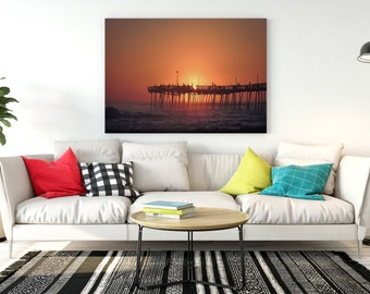 Sunrise at fishing pier Large format Sunrise Photography Orange Digita Download Wall Artrt Ocean Sufer Gift Idea