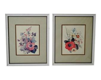 Vintage Framed Floral Watercolor Paintings - A Pair