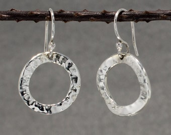 Rippled Inner Hoop Earring - Hammered Silver - French Wire, silver earrings, silver dangle earrings, mother's day gift idea, sisters present