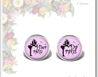Earrings Glass Cabochon 14 mm Elf in here.... out black on white Art.Nr.: Osh-014-023