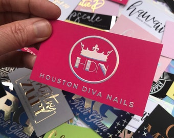 Nail Artist Business Cards   Designed and Printed Suede Business Cards with Raised Unicorn Foil   Can Be Fully Customized