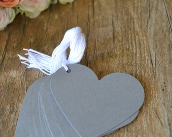 grey heart tags with string, grey heart price tags, grey heart favor tags, grey heart gift tags, grey heart wedding favor tags- 15 tags