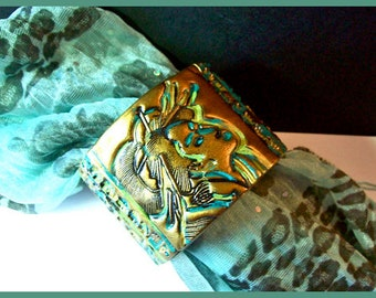 Cuff Bracelet Asian  Geisha Polymer Clay 2 in. Mettalic Gold Finish Japanese Characters   Magnetic Clasp