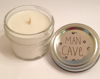 Man Cave. Coconut and Sandwalwood Scented Soy Candle. 4 oz Mason Jar. Gift for him. Gift for host. Made in Colorado. Handmade Gift. Nontoxic
