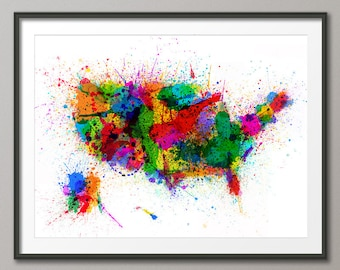 United States Paint Splashes Map USA, Art Print (63)