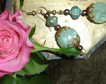 """""""sea green"""" Pearl copper earrings jewelry"""