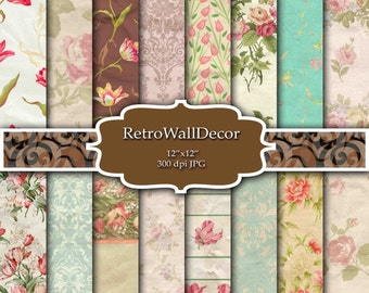 Floral Digital Paper Shabby Chic Papers Floral Patterns Wrinkle Papers Crumpled Paper Vintage Paper Floral Backgrounds Buy 2 Get 1 FREE