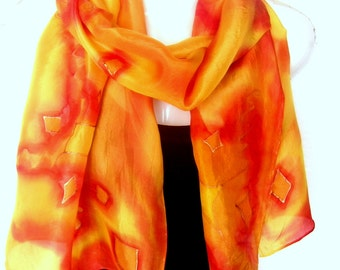 """Hand Painted Silk Scarf, Orange Red Yellow Silk Scarf Handpainted, Abstract, 71"""" x 18"""", Gift For Her"""