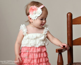 Baby Headband, coral and Ivory Headband, Toddler Headband, Newborn headband, baby hair bow, Newborn photo prop, hair accessories.