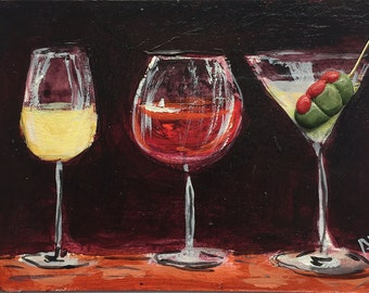 White Wine Glass - Red Wine Glass - Martini Painting - Wine Art - Martini Art - Original ACEO - Miniature Acrylic Painting