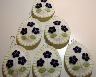 Hand Stitched Wool-Felt Easter Egg Ornaments - Home Decor - Easter Decor - Ornament - Wool Eggs - Violets - Wool Applique - Bowl Fillers