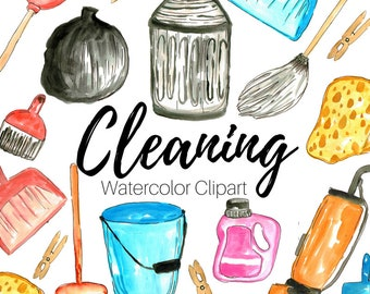 Cleaning Clip Art - Spring Clip Art - Watercolor clip art - House Clip Art - Cleaning Supplies - Commercial Use