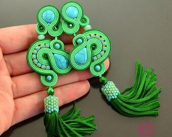 Long green tassel earrings, turquoise earrings, long lime earrings, soutache earrings, long earrings green, fringe earrings, boho earrings